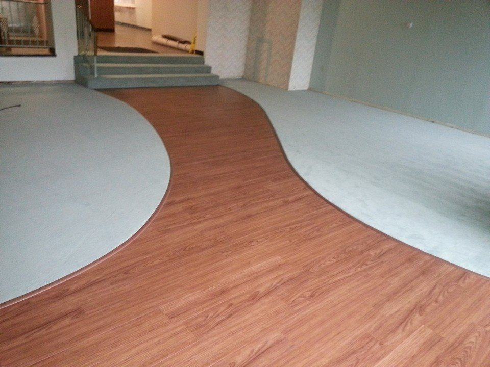 Custom Living Room Cutout Carpet and Hardwood Installation - Valvano Carpeting Images