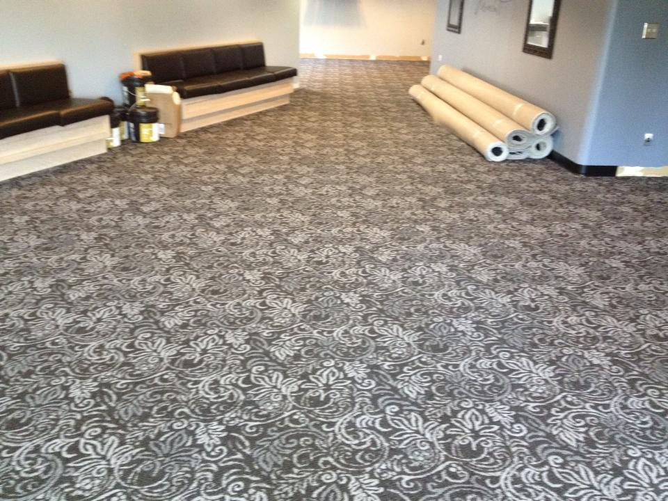 Commercial Pattern Carpet Installation In Hallway - Valvano Carpeting Images