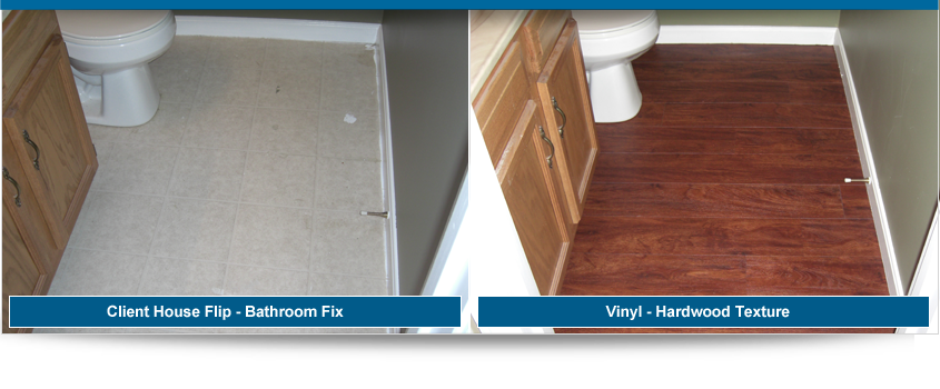 Before and After Bathroom Vinyl Installation - Valvano Carpeting Images