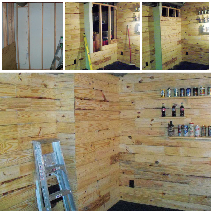 DIY Wooden Pallet Man Cave - Custom Made Pallet Wall